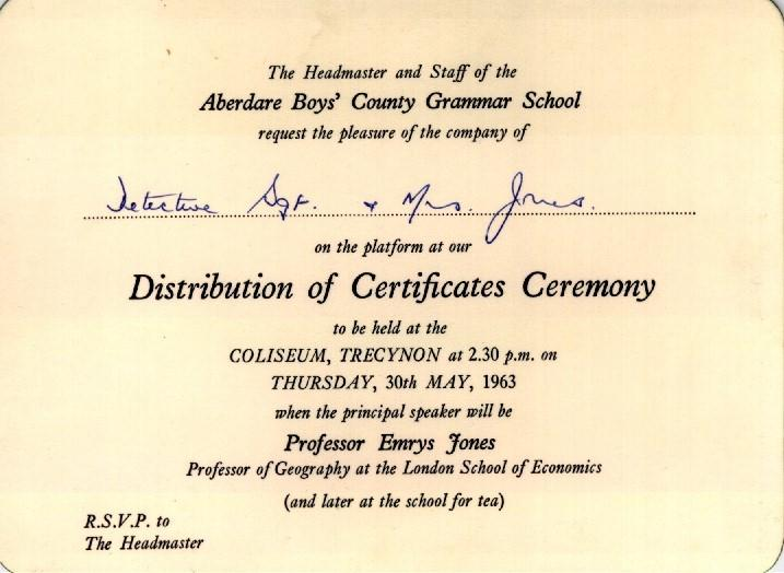 Aberdare boys grammar school invitation to certificates ceremony 1963 invitation stopboris Images